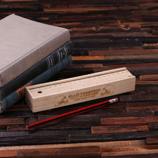 Personalized Football Themed Wood Pencil Box
