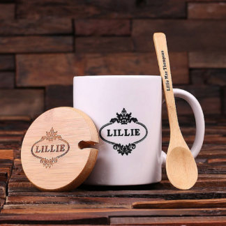 Customized 12 oz. Coffee Mug w/Bamboo Lid & Spoon