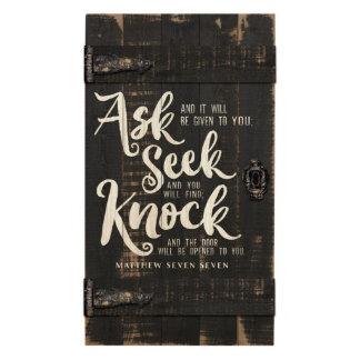Ask Seek Knock Barn Door Pallet Plaque