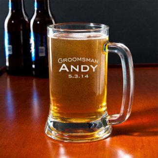Sand Etched 16 oz Groomsman Beer Mug