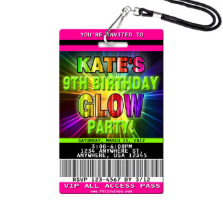 Birthday Glow Dance Party Invitation w/Lanyard