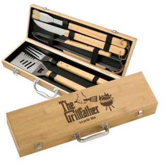 Grillfather Personalized Five Piece Bamboo BBQ Set