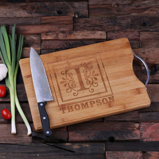 Personalized Bamboo Cutting Board w/Steel Handle