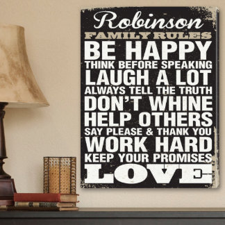Personalized Canvas Sign - Rustic Family Rules