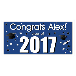 Personalized Congrats Graduate Party Banner Blue