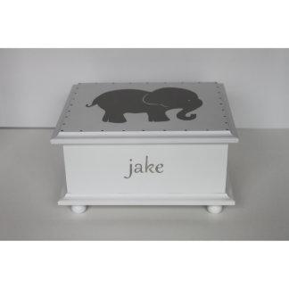 Caja gris del recuerdo del bebé del elefante