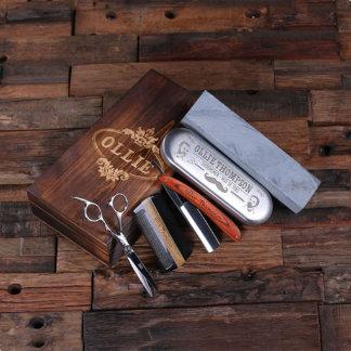 Custom Straight Razor, Wood Comb, Scissors & Stone