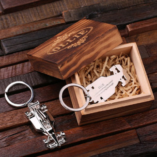 Personalized Formula Race Car Keychain & Gift Box