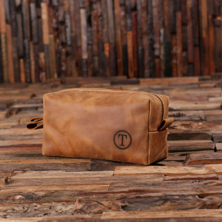 Personalized Leather Toiletry Bag Dopp Kit