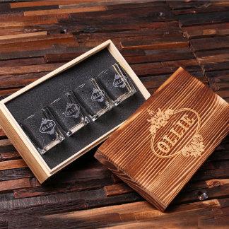 Custom Engraved Shot Glass Set w/Keepsake Box