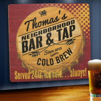 Custom Wood Tavern and Bar Sign - Served 24/7