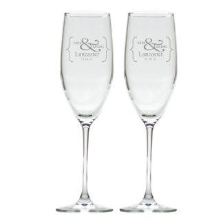 Mr. & Mrs. Glass Champagne Flute Set