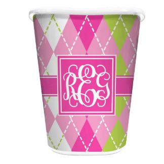 Pink & Green Argyle Custom Waste Basket