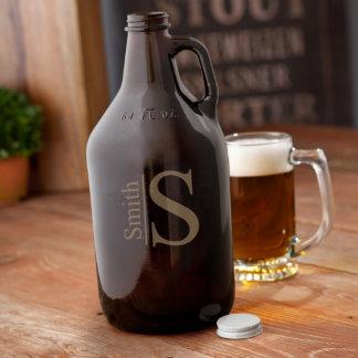 Personalized Monogrammed Amber Beer Growler