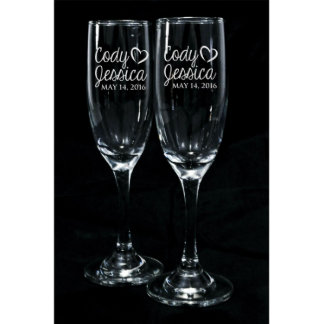 Bride and Groom Toasting Glasses Set of 2