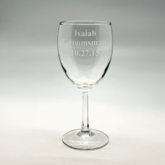 """Personalized """"Groomsman"""" Sand Etched Wine Glass"""