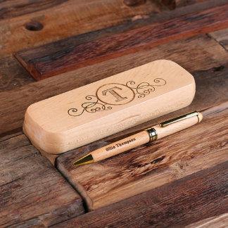 Personalized Wood Engraved Desktop Pen Set
