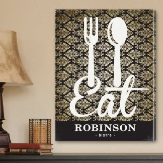 """Black and Ivory Filigree """"Eat"""" Canvas Bistro Sign"""