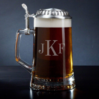 Classic Monogram European Glass Beer Stein