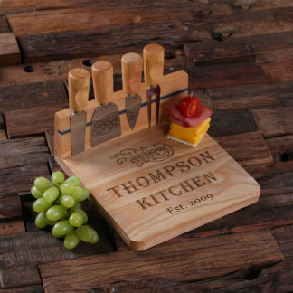 Personalized Bread Serving Tray Board w/ Tools