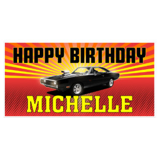 Hollywood American Muscle Car Birthday Banner