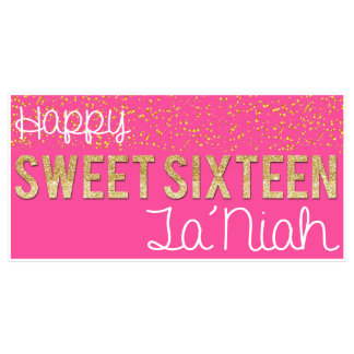 Confetti Glitter Sweet 16 Party Banner - Pink