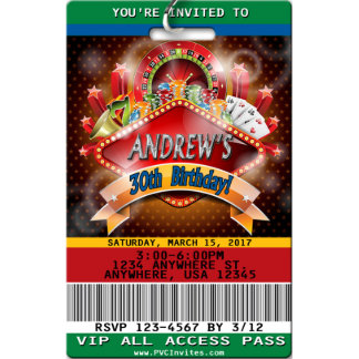 Casino Night Gambling Birthday Invitations