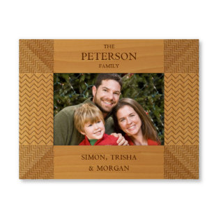 Chevron Engraved 9x7 Wooden Picture Frame