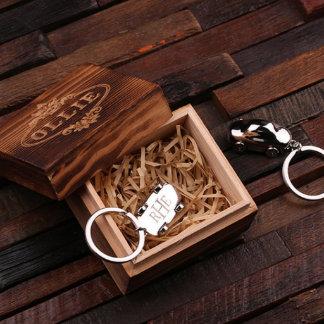 Car Personalized Polished Steel Key Chain w/Box