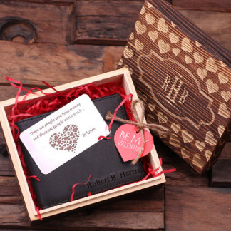 Customlized Valentine's Brown Wallet w/ Metal Card