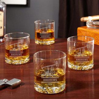 Oilfield Buckman-Style Whiskey Glasses Set of 4