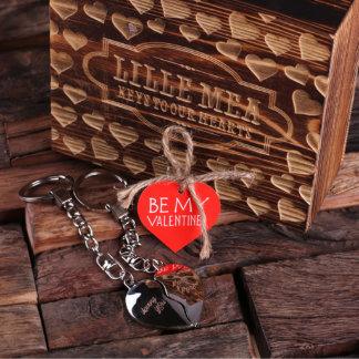 Custom Valentine's Double Heart Key Chains w/ Box