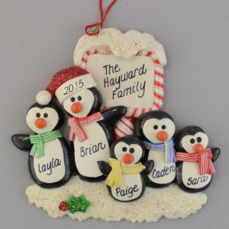Penguins (5) Personalized Clay Dough Ornament
