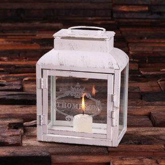 White Vintage Iron Engraved Glass Lantern