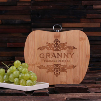 Personalized Bamboo Cutting Board – Apple Shaped