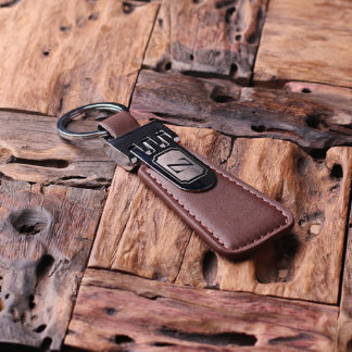 Custom Engraved Monogram Brown Leather Keychain