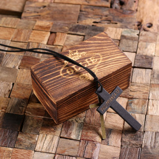 Personalized Wood Religious Cross Necklace w/Box