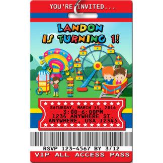 Amusement Park Birthday Invitations