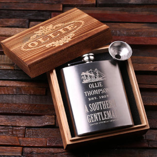 Personalized 7oz. Stainless Steel Flask w/Gift Box