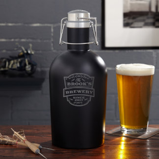 Personalized Vintage Brewery Blackout Beer Growler