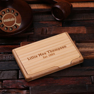 Personalized Wooden Bamboo Business Card Holder