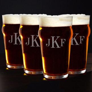 Monogrammed English Pub Glasses, Set of 4
