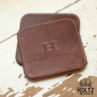 Set of 4 Brown Leather Ranch House Coasters