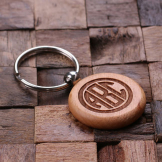 Personalized Round Monogram Wood Key Chain