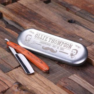 Personalized Straight Razor Blade with Tin Box