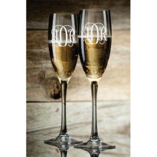 Toasting Monogram Champagne Flutes Set of 2