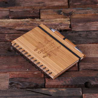 Personalized Spiral Bamboo Notebook & Pen