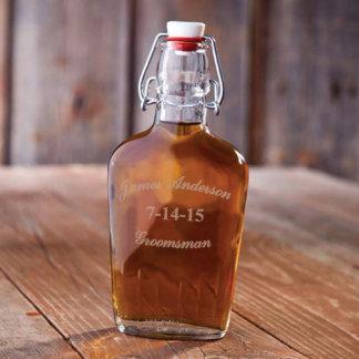 Personalized Vintage Glass Groomsman Flask
