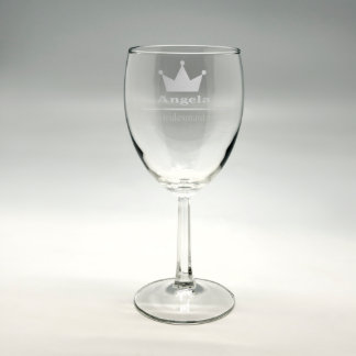"""Personalized """"Bridesmaid"""" Sand Etched Wine Glass"""