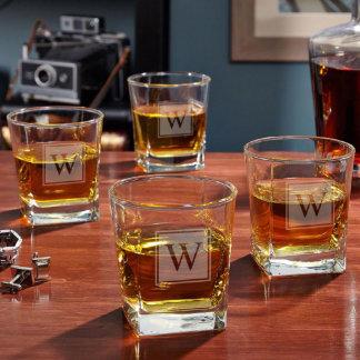 Block Monogram Rutherford Whiskey Glasses Set of 4